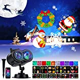 Christmas Projector Lights Outdoor 26 HD Effects (3D Ocean Wave & Patterns) Waterproof with RF Remote Control Timer for Indoor Holiday Night Gathering Disco Party (RGB + Multicolor)