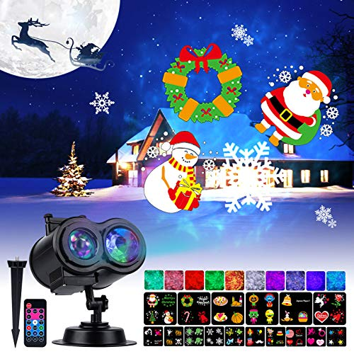 Holiday Projector Lights Outdoor 26 HD Effects (3D Ocean Wave & Patterns) Waterproof with RF Remote Control Timer for Easter Indoor Night Gathering Disco Party, RGB + Multicolor