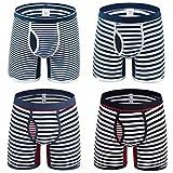 Tuopuda Calzoncillos Bóxers para Hombre A Rayas Bolsa Abierta de la Mosca Multi Pack Bóxers de Algodón Shorts Troncos Ropa Interior Deportiva Paquete de 3 y 4