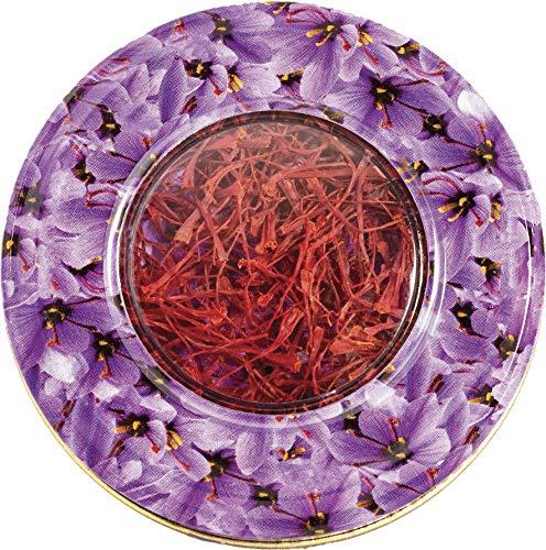 Zafferano 1 grammi in latta di design di fiori di zafferano- Grado A -% 100 puro tutto rosso di alta qualità allo zafferano spagnolo per Paella Originale Carmencita tè (1g).