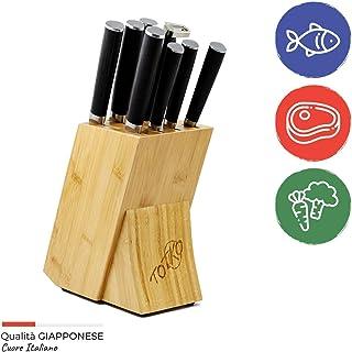Totiko Japan Knives - Juego de Cuchillos de Cocina con Bloque bambú, 7 Cuchillos Profesionales y afilador de Cuchillos