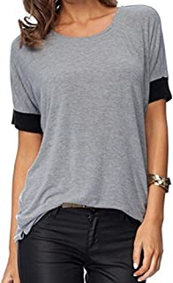 Womens O-Neck Solid Tops Short Sleeve Shirts Round Neck Casual T Shirts Patchwork Loose Fit Tee Blouses