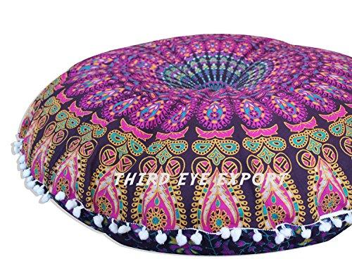Third Eye Export - 32 in Purple Vishnu Mandala Barmeri Large Round Floor Pillow Cover Cushion Meditation Seating Ottoman Throw Cover Hippie Decorative Zipped Bohemian Pouf (Purple Mandala Cover Only)