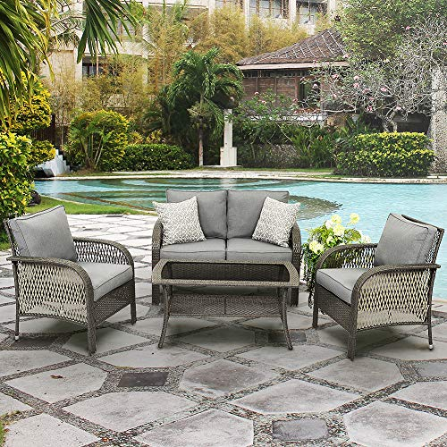 Wisteria Lane Outdoor Furniture Sets - 4 Piece Patio Conversation Set Wicker Sofa with Glass Table, Grey