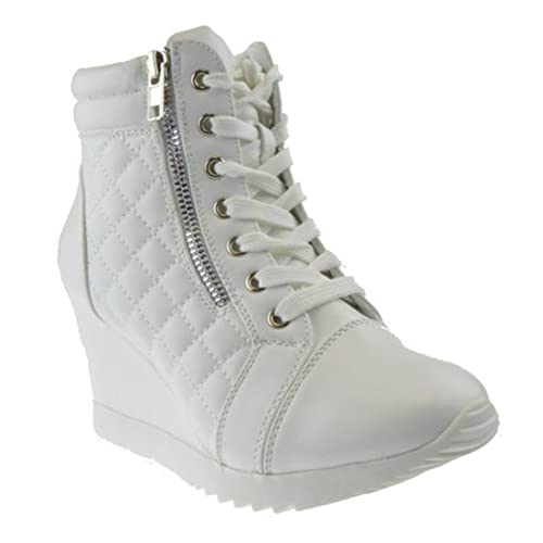 9f2fdbd72872 Forever Adriana 12 Womens Lace Up Quilted High Top Wedge Sneaker White