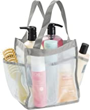 mDesign Waterproof Bag - Waterproof Tote Bag Made of Canvas and Mesh - Perfect as a Beach Bag, Picnic Bag or Garden Bag with Handles and Six Pockets - Mint/Grey