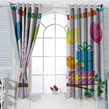 Mozenou Kids Birthday Grommet Curtain for Bathroom Singing Birds Happy Birthday Song Flags Cone Hats Party Cake Celebration Grommets Curtain Door Panel 55