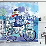 ABAKUHAUS Paris Duschvorhang, Frau auf Dem Fahrrad mit Katze, Trendiger Druck Stoff mit 12 Ringen Farbfest Bakterie & Wasser Abweichent, 175 x 200 cm, Multicolor