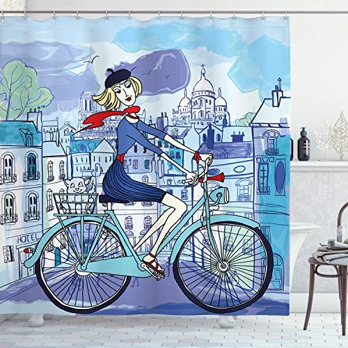 ABAKUHAUS Paris Duschvorhang, Frau auf Dem Fahrrad mit Katze, Trendiger Druck Stoff mit 12 Ringen Farbfest Bakterie & Wasser Abweichent, 175 x 180 cm, Multicolor