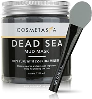Dead Sea Mud Mask with Premium,Top-Rated Silicone Mask Brush, 8.8 oz. Acne, Blackhead Remover and Pore Refining Mask for Cleansing & Purifying :: 100% Natural, Paraben & Sulfate Free by Cosmetasa