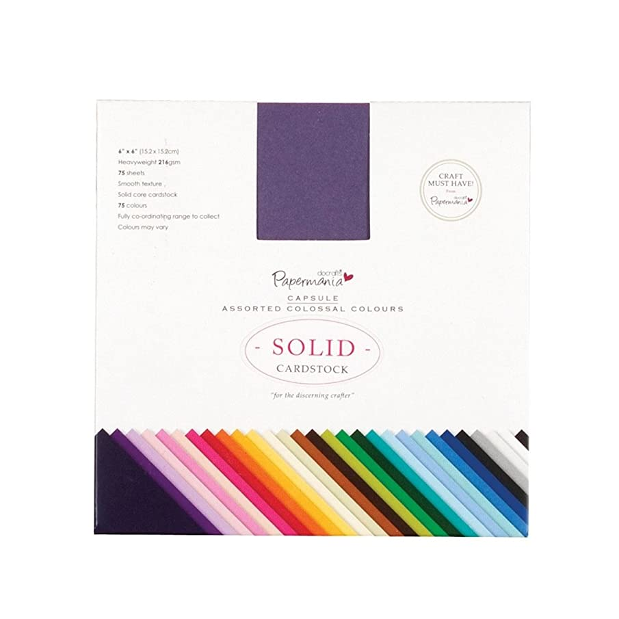 docrafts Papermania Premium Smooth Solid Cardstock Pack 6 by 6-Inch, Colossal, 75-Pack