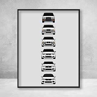BMW M5 Poster Print Wall Art of the History and Evolution of the M5 Generations (BMW Car Models: E28, E34, E39, E60, F10, F90)