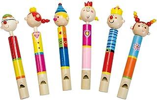Bino träpipa med nav, träleksaker (musikinstrument barn från 3 år, 18 stycken i 6 olika sorter x 3 stycken, hög kvalitet, ...