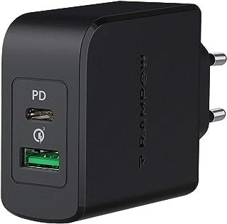 RAMPOW Cargador USB C Carga Rapida 36W Power Delivery 3.0 y Quick Charge 3.0, 18W Cargador Tipo C para iPhone 12 11 XS X S...