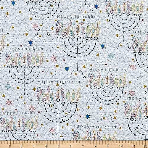 QT Quilt Fabrics Happy Hanukkah Menorahs White