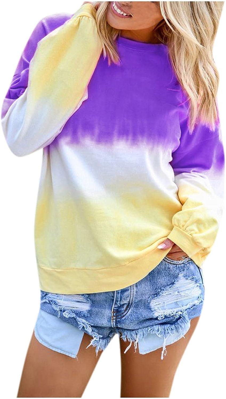 SPOORYYO Women Long Sleeve Sweatshirt Colorblock Tie Dye Printed Casual Crew Neck Pullover Loose Tunics Tops Blouses