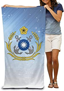 Republic of China Navy (ROCN) Logo Adult Beach Towels Fast/Quick Dry Machine Washable Lightweight Absorbent Plush Multipurpose Use for Swim,Beach,Camping,Yoga