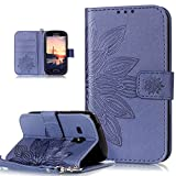 Kompatibel mit Galaxy S3 Mini Hülle,Galaxy S3 Mini Schutzhülle,Prägung Blumen PU Lederhülle Flip Hülle Cover Soft Silikon Ständer Wallet Hülle Tasche Cover Schutzhülle für Galaxy S3 Mini,Blumen Blue