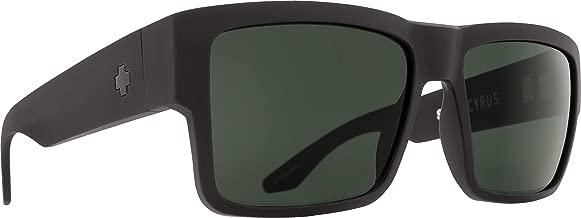 Spy Optic Cyrus Flat Sunglasses, Matte Black/Happy Gray/Green, 58 mm