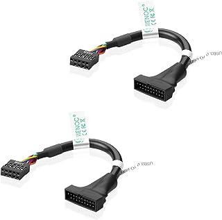 SIENOC USB2.0ピンヘッダ端子(9ピン) USB3.0ピンヘッダ端子(20ピン)変換ケーブル (2 個)