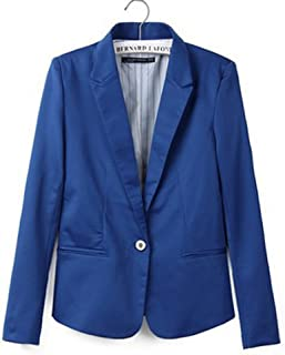 Women Long Sleeve One Button Shoulder Pad Office Blazers with Pockets