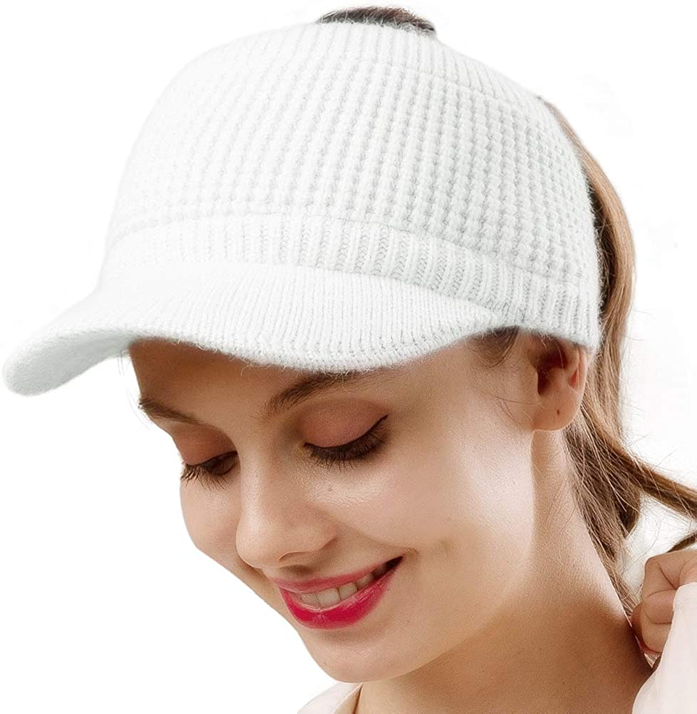 Camptrace Beanie Tail Winter shipfree Hats Minneapolis Mall for Messy High Knit Women Warm
