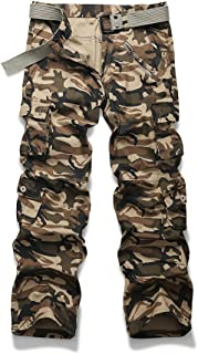 Mens Cargo Multi Pocket Military Camo Combat Work Relaxed-Fit Pants