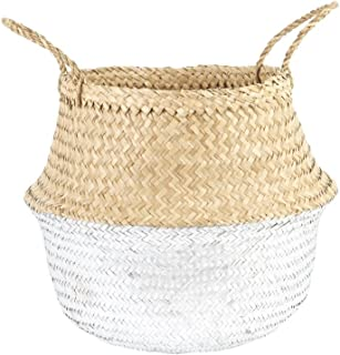 White Lilac Silver Dipped Seagrass Belly Basket Tote Storage