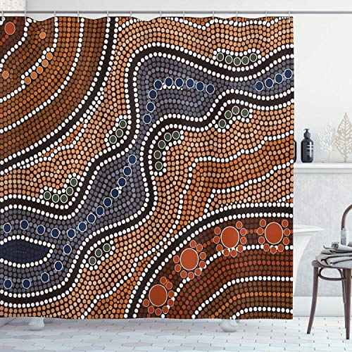 N \ A Art Duschvorhang, Aboriginal Kultur, abstrakte Naturszene, australische Illustration, Stoffstoff, Badezimmer-Dekor-Set mit Haken, 152,4 x 182,9 cm, orangebraun