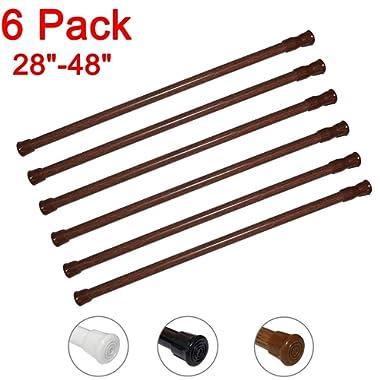 6 Pack Spring Tension Curtain Rod Adjustable Length for Kitchen, Bathroom, Cupboard, Wardrobe, Window, Bookshelf DIY Projects (Wood Grain - 6 Pack,28  to 48  Adjustable)