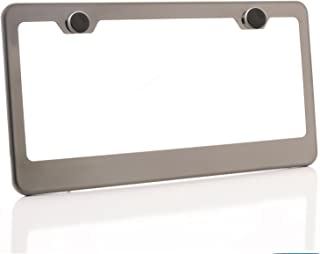 KA LEGEND One Black Smoke Chrome Titanium Gun Metal T304 Stainless Steel License Plate Frame Holder Front Or Rear Bracket with Aluminum Screw Cap
