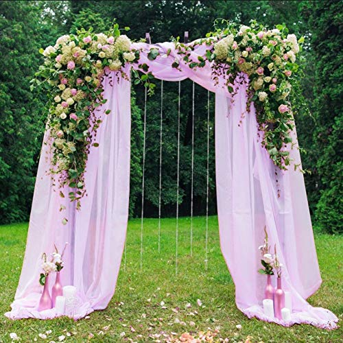 HAVII 394 x 53 inch Organza Table Runner Sheer Scarf Valance Tulle Roll Backdrop Curtains for Wedding Table Swags Stair Bow Baby Shower Birthday Party Decoration - Lavender, 1 Pack