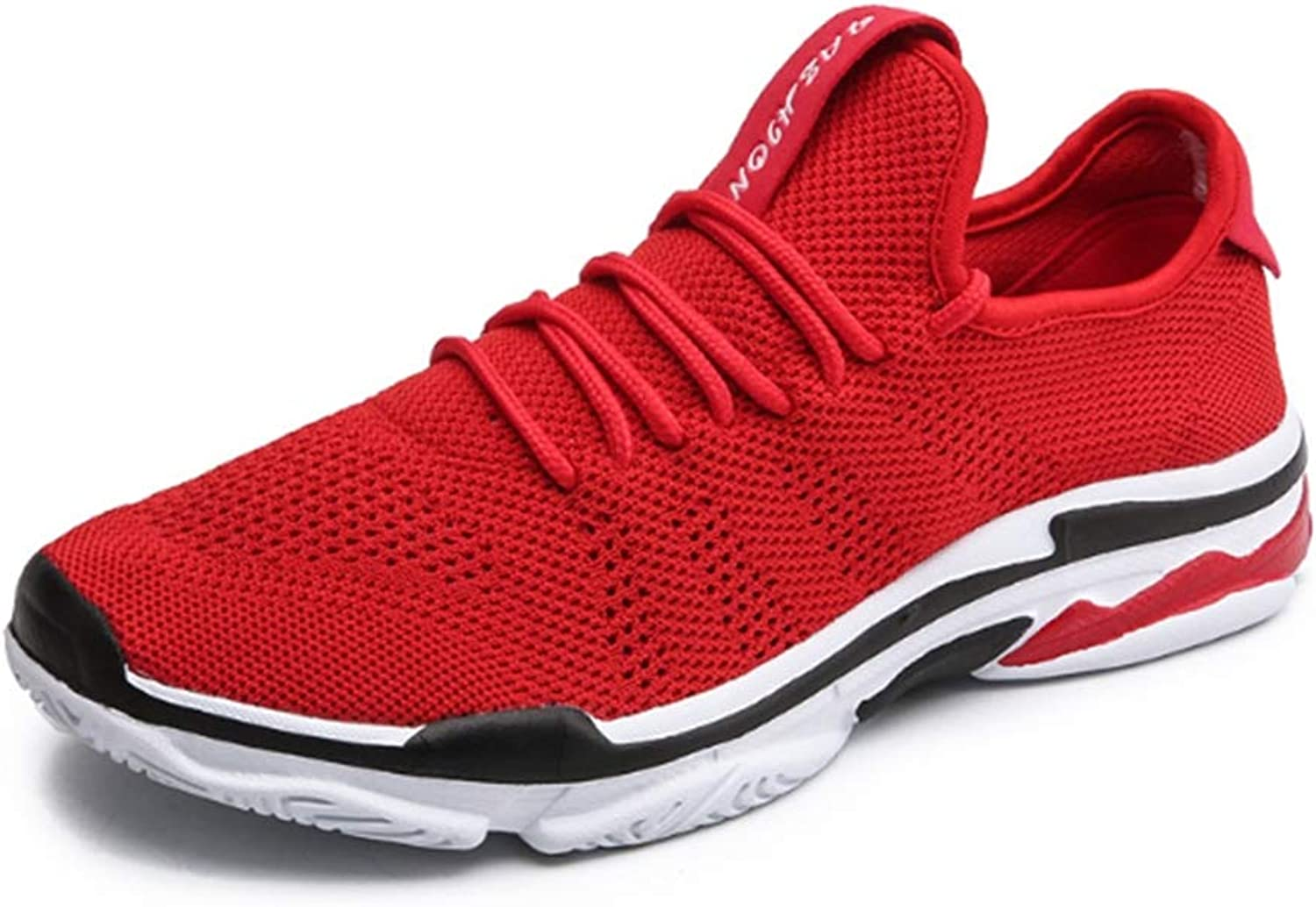 Unisex Trainer Sports shoes, Leisure Flying Weaving Mesh Breathable Damping Lightweight Running shoes, Runway, Outdoor, Grassland, Jogging,Red,45
