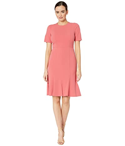 Donna Morgan Crepe Short Split Sleeve Fit and Flare Dress (Terracotta) Women