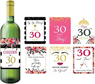 30th Birthday Wine Bottle Labels, Set of 7 Wine Bottle Label Stickers, 30th Birthday Decorations for Women