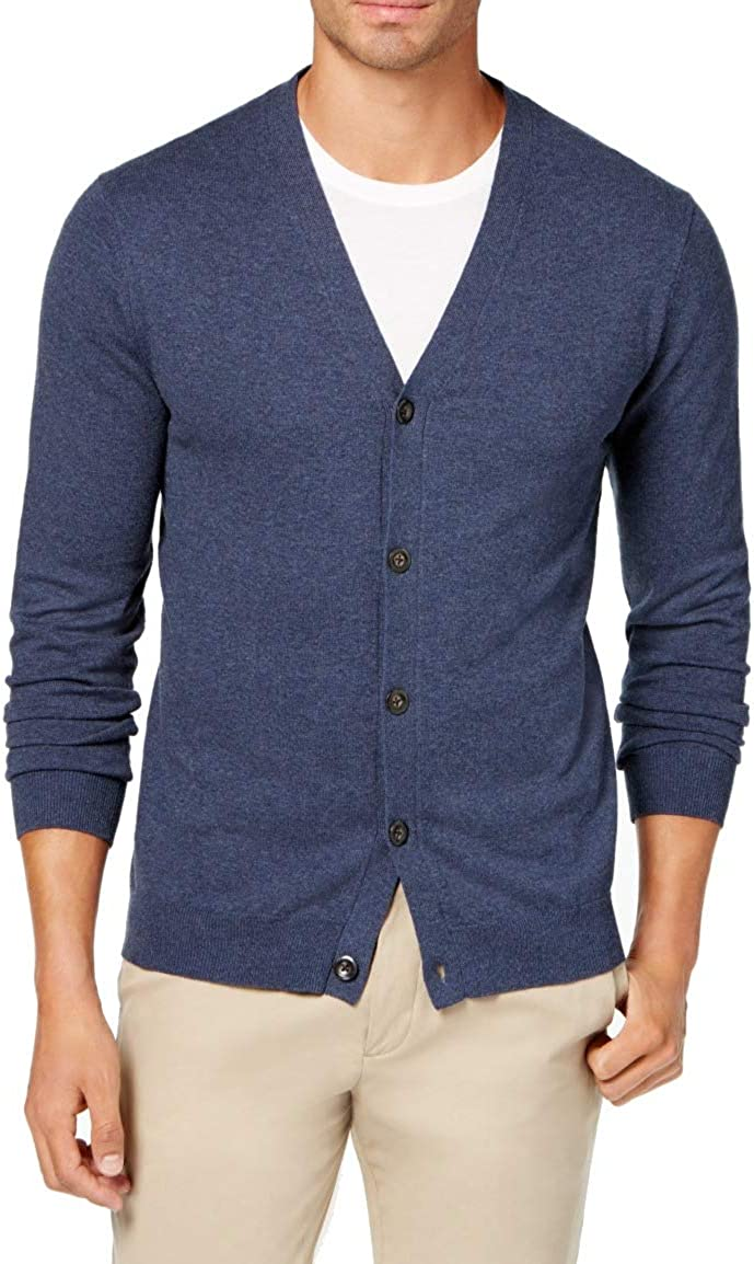 Club Room Mens Ribbed Trim Long Sleeves Cardigan Sweater