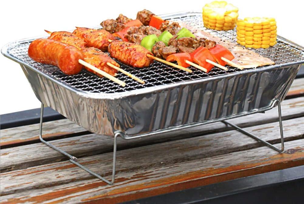 jijuai554 Poêle De Barbecue De Pique-nique Extérieur à La Maison Avec Barbecue Portable Jetable Au Charbon De Bois argent Argent
