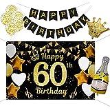 60 Años Decoración de Fiesta de Cumpleaños de Oro Negro, Taumie Póster de Tela Cartel Extra Grande para 60 Aniversario Feliz Cumpleaños Pancarta, Banderas de Cumpleaños, 7 Pcs Globos de Cumpleaños