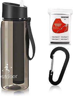 R2Depot Botella de agua deportiva de 650 ml, libre de BPA, con filtro, purificador portátil de supervivencia, equipo de fi...