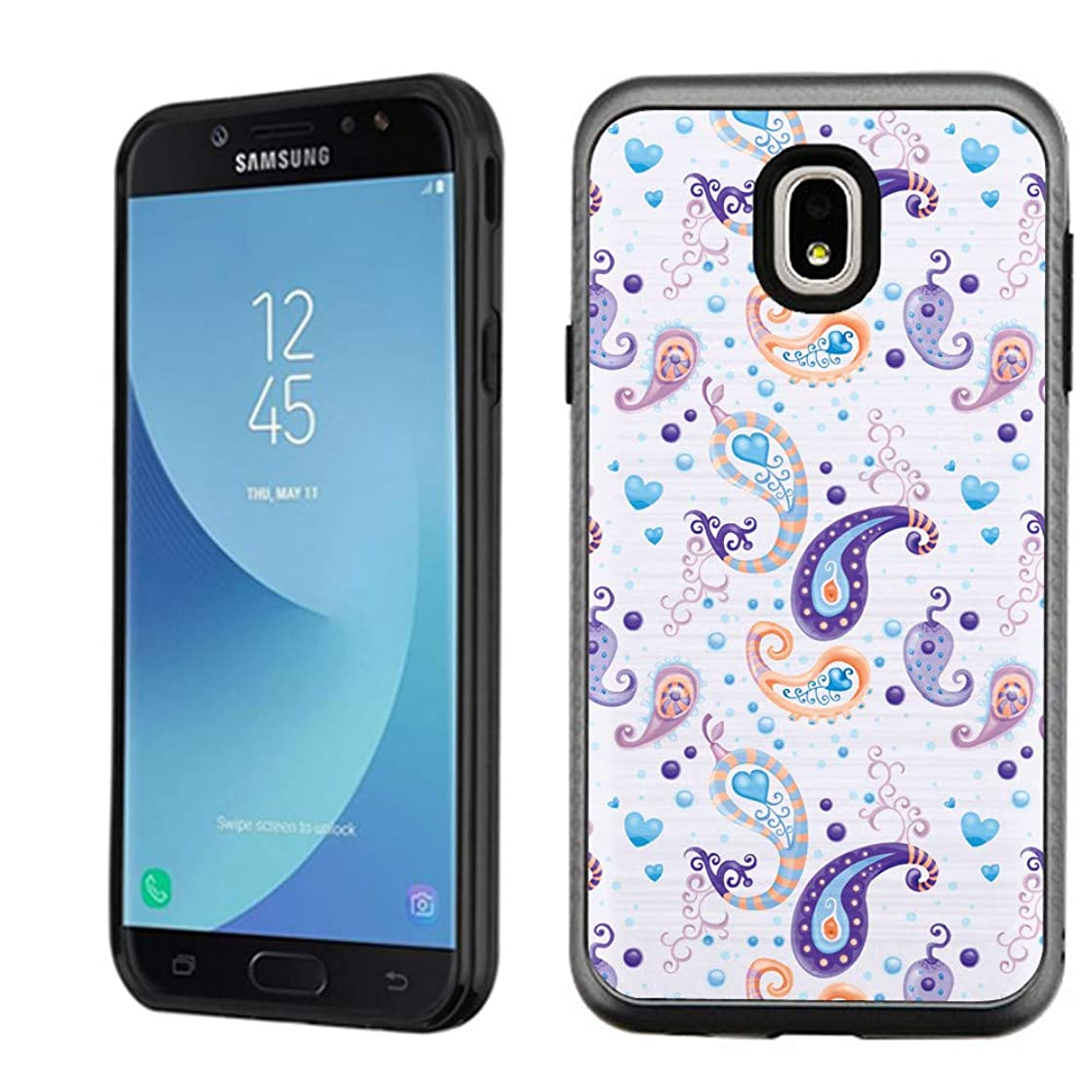 Samsung Galaxy J7 Star / J7 Refine / J7 2018, OneToughShield Dual Layer Bumper Protector Phone Case Cover Brushed Texture - Paisley Purple