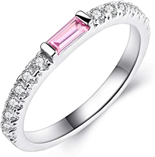 Shengtai Womens Stackable Eternity Band Ring Rectangular Light Blue Pink CZ Christmas Jewelry Gifts for Wife Girl-Friend S...
