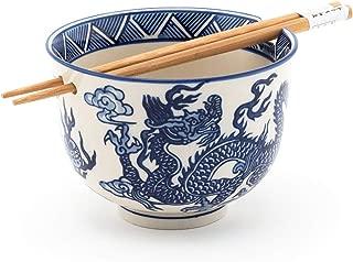 Happy Sales HSRB-DRGBLU, Ramen Udon Noodle Soup Cereal Bowl w/Chopsticks, Royal Blue Dragon Design