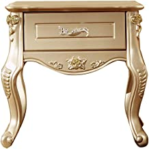 Bedside Table Bedside Table, European Champagne Gold Carved Single Drawer Bedroom Storage Cabinet, Suitable for Living Roo...