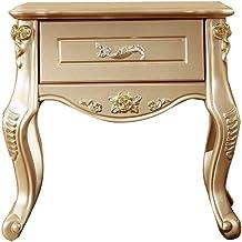 Bedside Table Bedside Table, European Champagne Gold Carved Single Drawer Bedroom Storage Cabinet, Suitable for Living Roo...