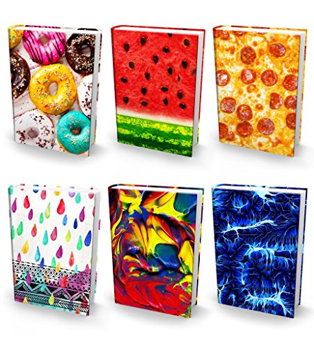Book Sox Stretchable Book Cover: Jumbo 6 Print Value Pack. Fits Most Hardcover Textbooks up to 9 x 11. Adhesive-Free, Nylon Fabric School Book Protector Easy to Put On Jacket wash Re-use (Ultra Print)