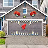 JOYIN Monster Face Halloween Garage Archway Door Decoration with Monster's Eyes, Fangs, Tongue, Nose and Double Face Stickers (21 inches Eyes & Fangs)