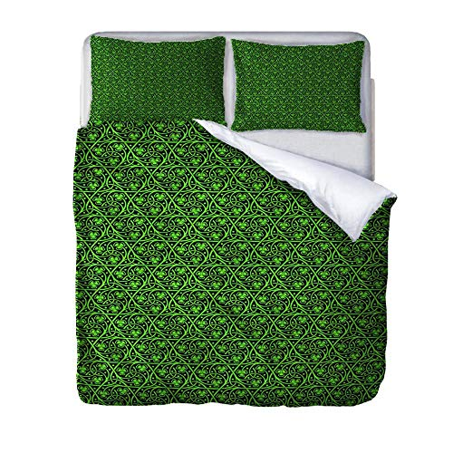 HLLIZ Single Duvet Cover Set, Green floral Printed Quilt Bedding Set 2Pcs With Zipper Closure In Polyester, 1 Quilt Cover With 1 Pillowcases, 155 cm W X 220 cm H