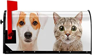 """Jolly2T Magnetic Mailbox Cover - 18""""W x 21""""H, Close Up Portraits of Jack Russell Terrier Dog and Scottish Straight Cat Photo,Mailbox Wraps Post Letter Box Cover"""
