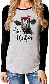 Not Today Heifer Shirt Cute Cow Printed Long Sleeve O Neck Splcing Baseball Tshirt Blouse Top
