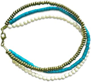 karatcart Anvi Wooden Anklet for Women(White and Green)